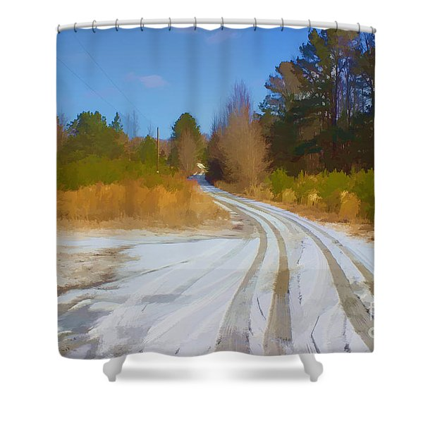 Snow Covered Lane Shower Curtain