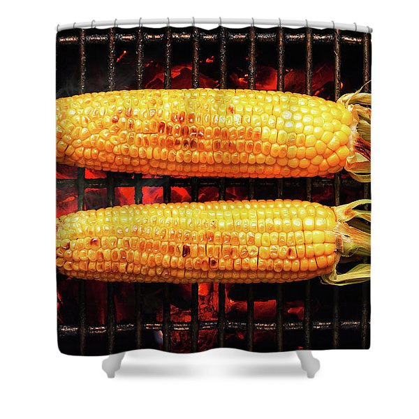 Whole Corn On Grill Shower Curtain