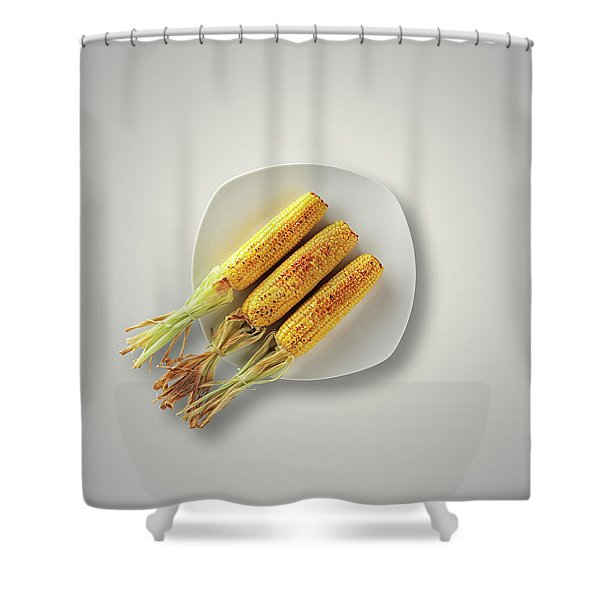 Whole Grilled Corn On A Plate Shower Curtain