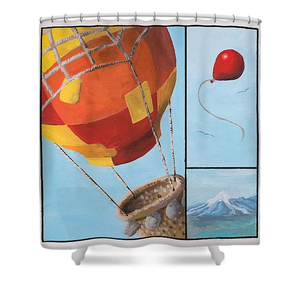 Shower Curtain featuring the painting Who's Flying This Thing? by Break The Silhouette