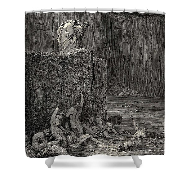 Why Greedily Thus Bendest More On Me Than On These Other Filthy Ones Thy Ken Gustave Dore Shower Curtain
