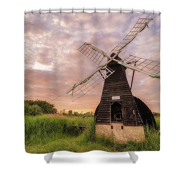 Wicken Wind-pump At Sunset II Shower Curtain