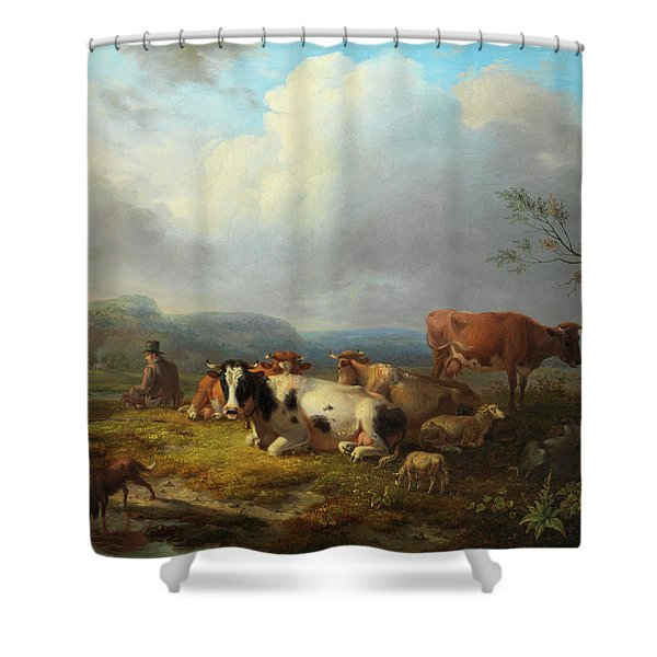 Wide Landscape With Cattle Herd And Rastendem Shower Curtain
