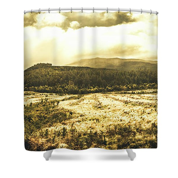 Wide Open Tasmania Countryside Shower Curtain