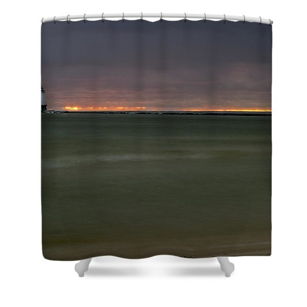 Shower Curtain featuring the photograph Wide View Of Lighthouse And Sunset by Lester Plank