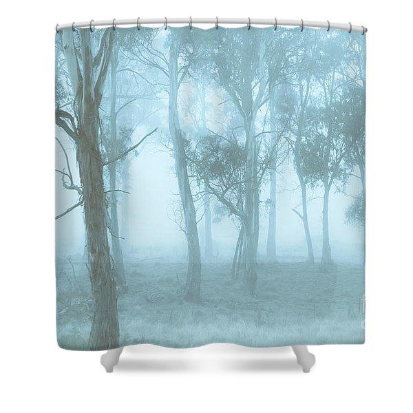 Wild Blue Woodland Shower Curtain
