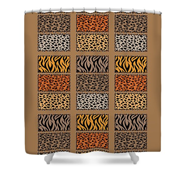 Wild Cats Patchwork Shower Curtain