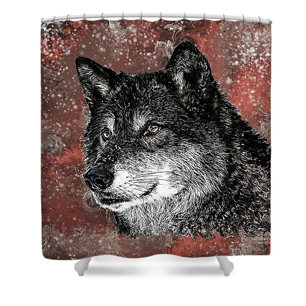 Wild Dark Wolf Shower Curtain
