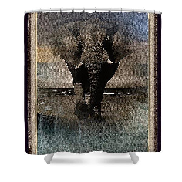 Wild Elephant Montage Shower Curtain