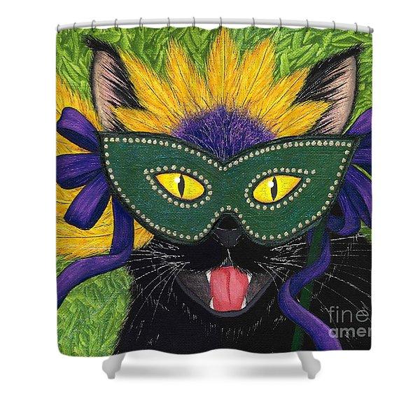 Wild Mardi Gras Cat Shower Curtain