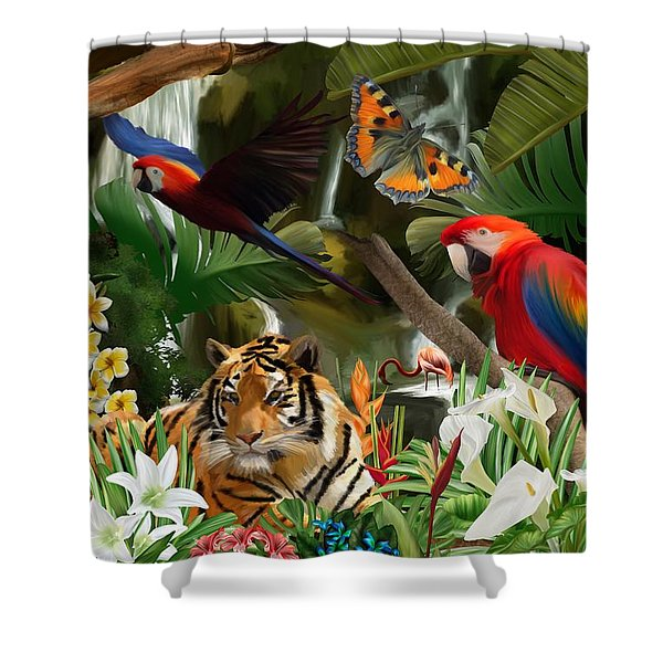 Shower Curtain featuring the digital art Wild by Mark Taylor