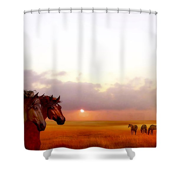 Wild Moorland Ponies Shower Curtain
