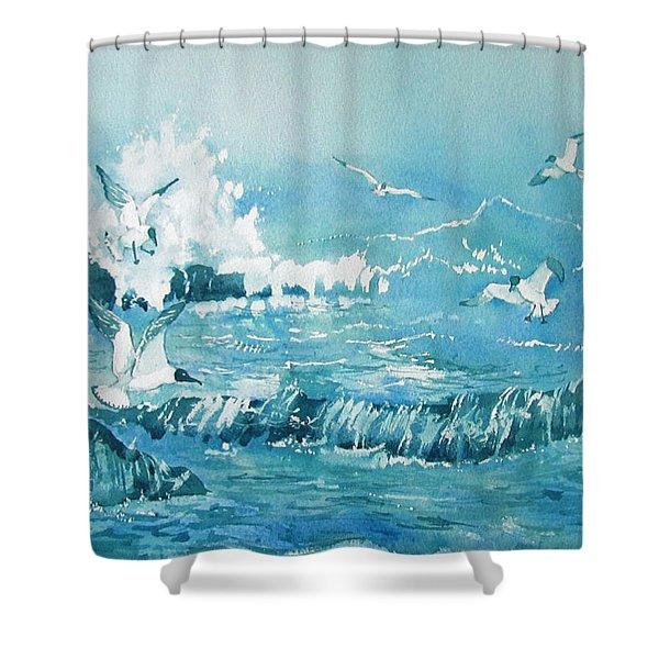 Wild Waves With Gulls Shower Curtain