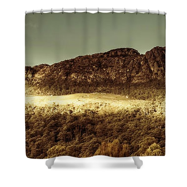 Wild West Mountain Panorama Shower Curtain