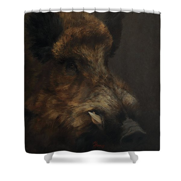 Wildboar Portrait Shower Curtain