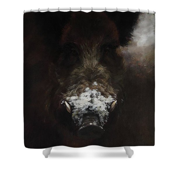 Wildboar With Snowy Snout Shower Curtain
