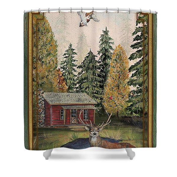 Wilderness Lodge-b Shower Curtain