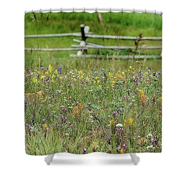 Wildflower Fence Shower Curtain
