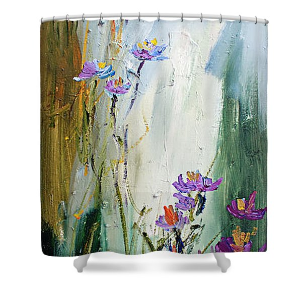 Wildflowers And Bees Oil Painting Shower Curtain