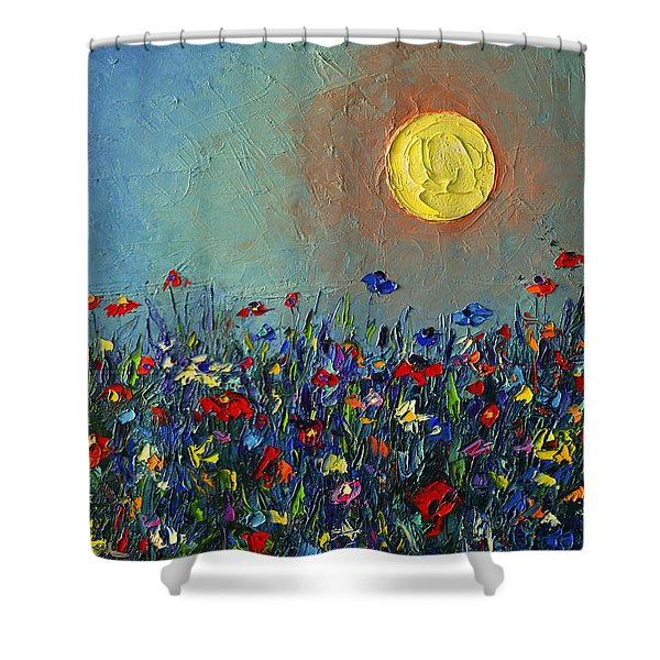 Wildflowers Meadow Sunrise Modern Floral Original Palette Knife Oil Painting By Ana Maria Edulescu Shower Curtain