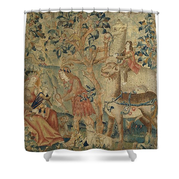 Wildmen And Animals In A Landscape Fragment, Anonymous, C. 1500 - C. 1520 Shower Curtain