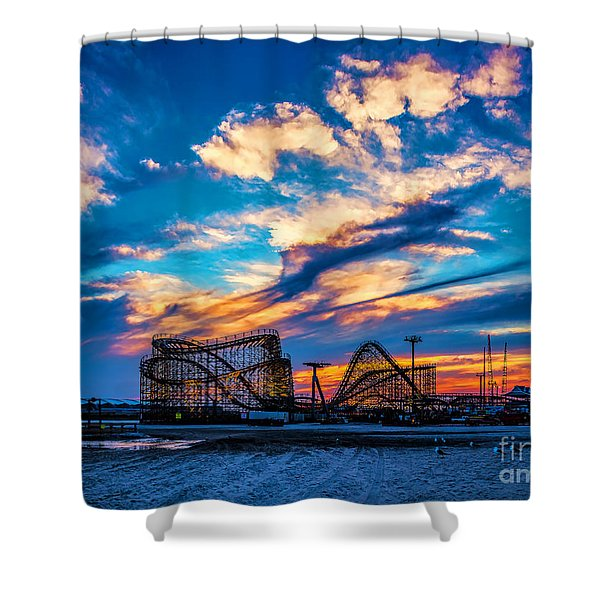 Wildwood Beach Sunset Shower Curtain