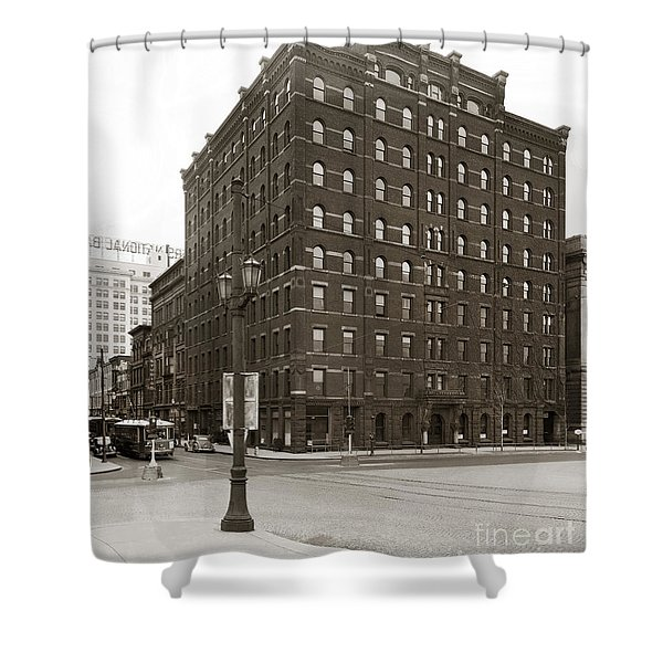 Wilkes Barre Pa Hollenback Coal Exchange Building Corner Of Market And River Sts April 1937 Shower Curtain