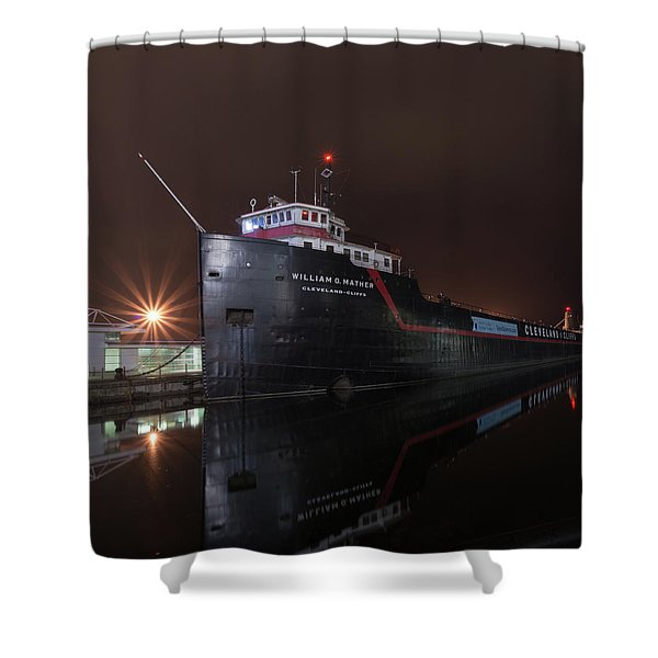 William G Mather At Night  Shower Curtain