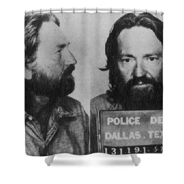 Willie Nelson Mug Shot Horizontal Black And White Shower Curtain