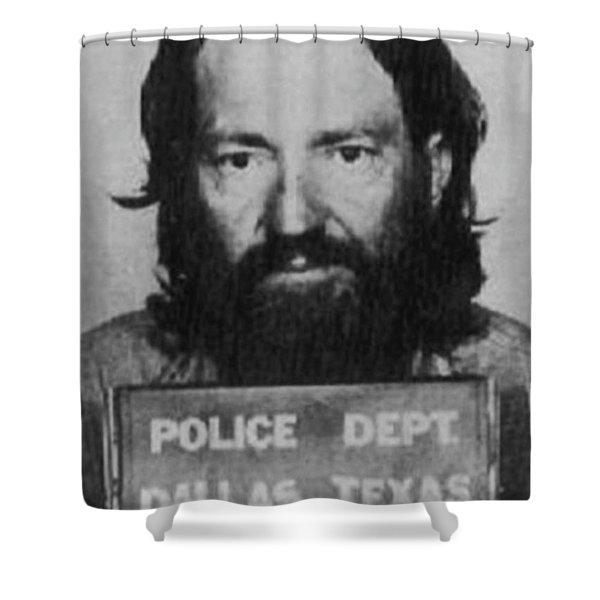 Willie Nelson Mug Shot Vertical Black And White Shower Curtain