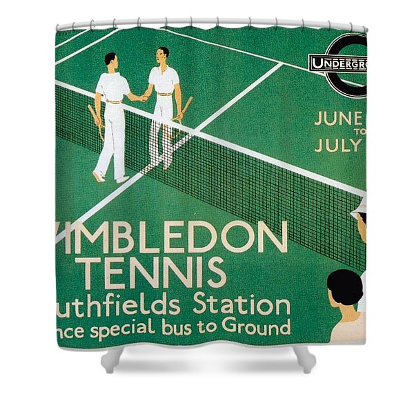 Wimbledon Tennis Southfield Station - London Underground - Retro Travel Poster - Vintage Poster Shower Curtain