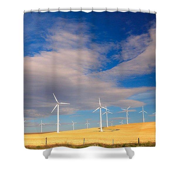 Wind Farm Against The Sky Shower Curtain