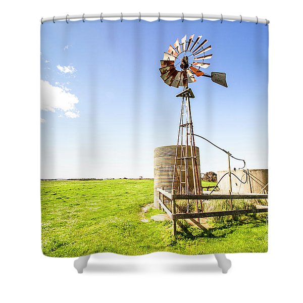Wind Powered Farming Station Shower Curtain