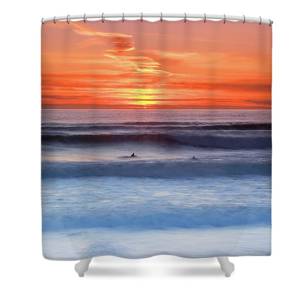 Wind Surfers Waiting For The Next Wave, Summerleaze Beach, Bude, Cornwall, Uk Shower Curtain