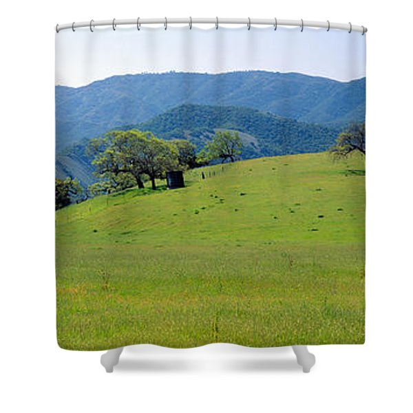 Windmill And Oak Trees In Spring Shower Curtain
