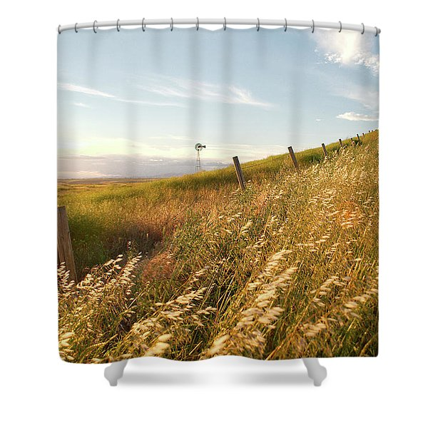 Windmill And The Fence Sundown Shower Curtain