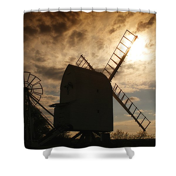 Windmill At Dusk  Shower Curtain