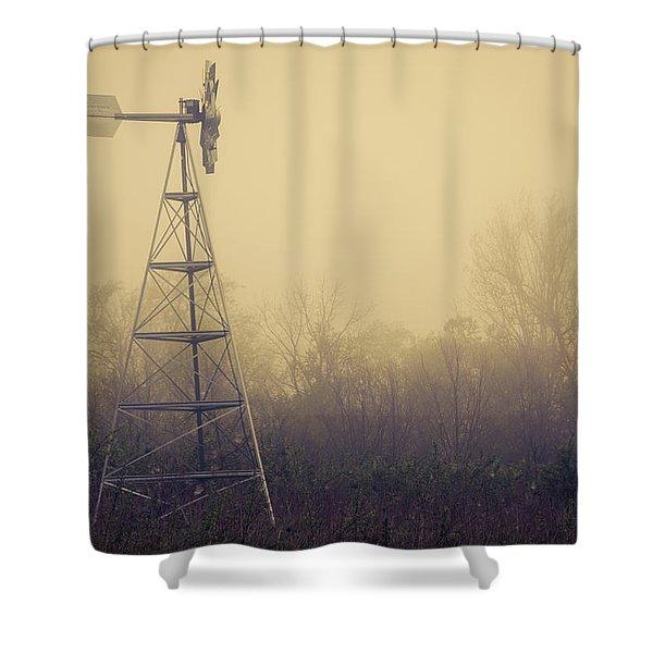 Windmill In The Foggy Dawn Shower Curtain