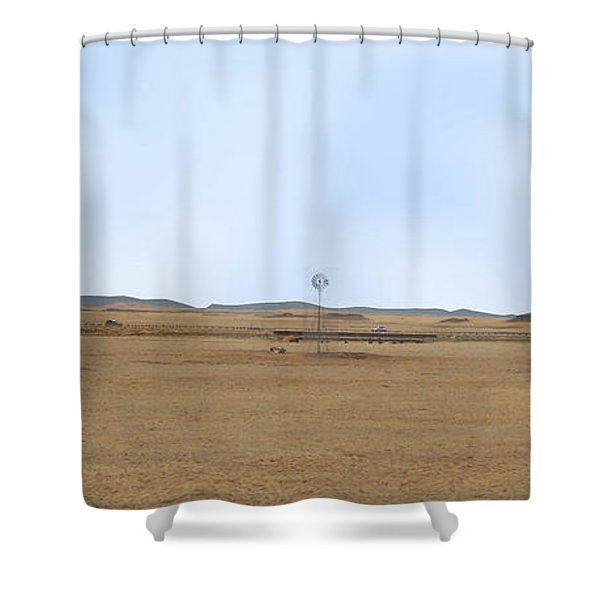 Shower Curtain featuring the photograph Windmill On The Colorado Range by Charles Robinson