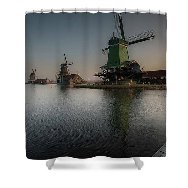Windmill Sunrise Shower Curtain