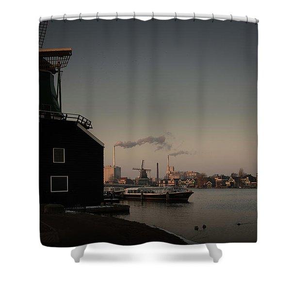 Windmill Town Shower Curtain