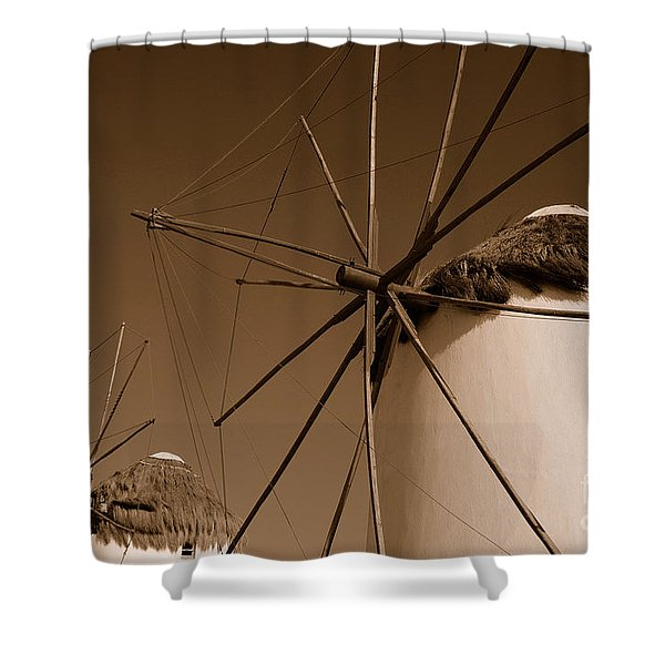 Windmills In Sepia Shower Curtain