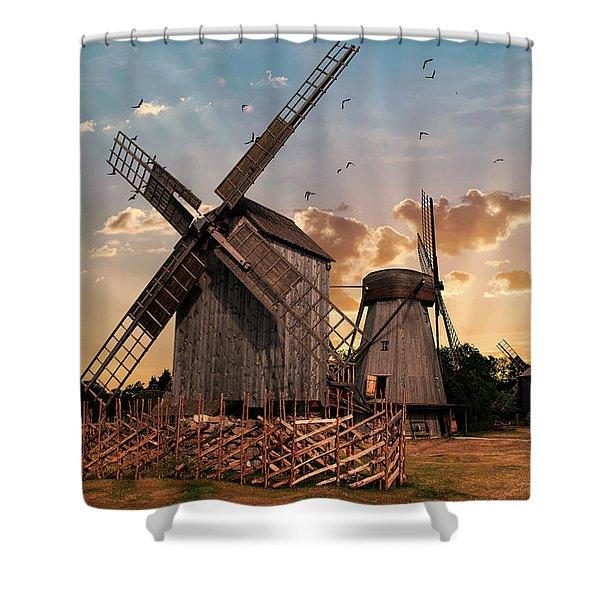Windmills Of Estonia Shower Curtain