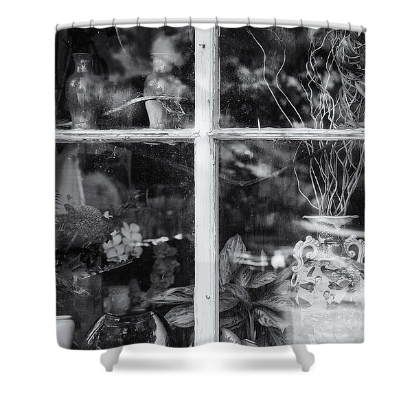Shower Curtain featuring the photograph Window In Black And White by Tom Singleton