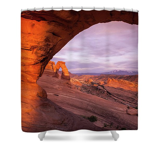 Window To Arch Shower Curtain