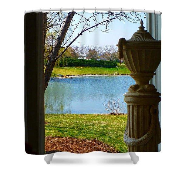 Window View Pond Shower Curtain