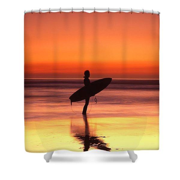 Windsurfer At Widemouth Bay, Bude, Cornwall Shower Curtain