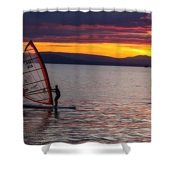 Shower Curtain featuring the photograph Windsurfing Lake Champlain by Sven Kielhorn