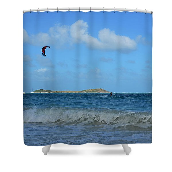 Windsurfing Orient Beach In Saint Martin Shower Curtain