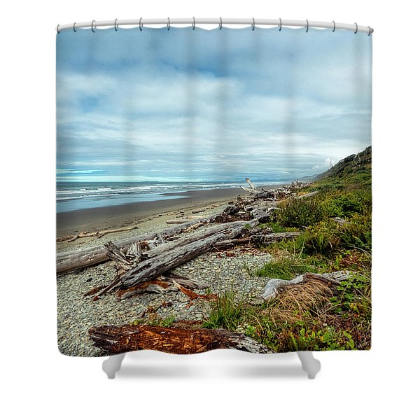 Windy Beach In Oregon Shower Curtain